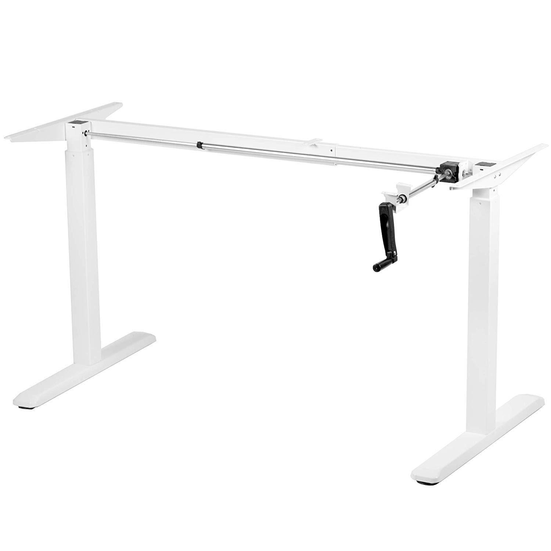 Floor Standing FS-DR48C-WH Manual Crank Height Adjustable Desk Frame (White)