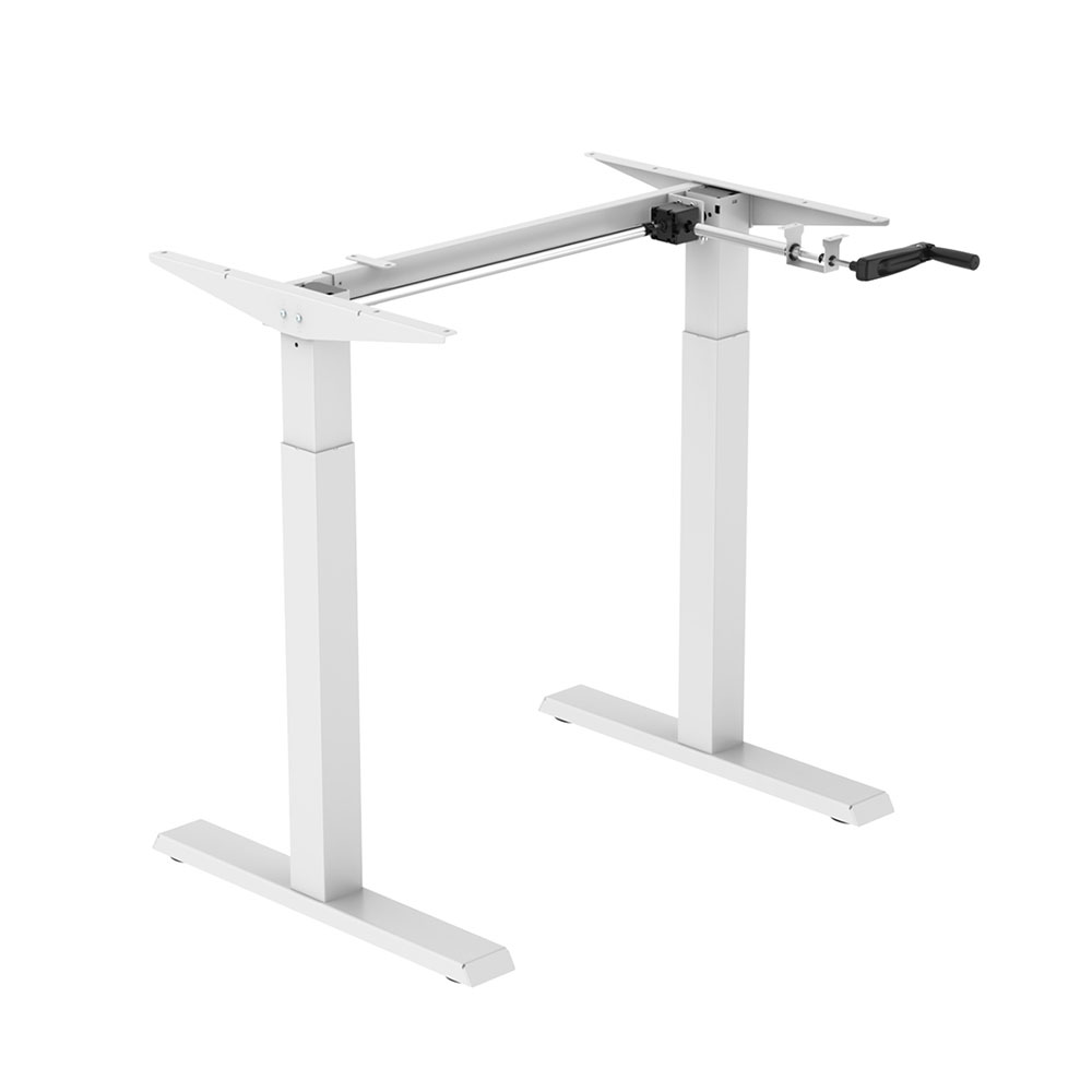 Floor Standing FS-DR22C-WH Compact Manual Crank Height Adjustable Desk Frame (White)
