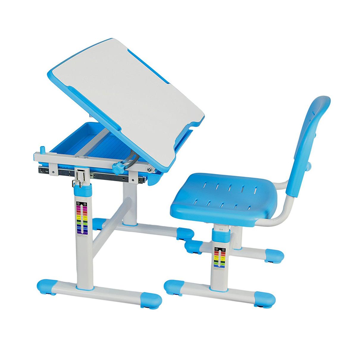 KidzDesk KD26B Ergonomic Height Adjustable Children Desk and Chair Set (Blue)