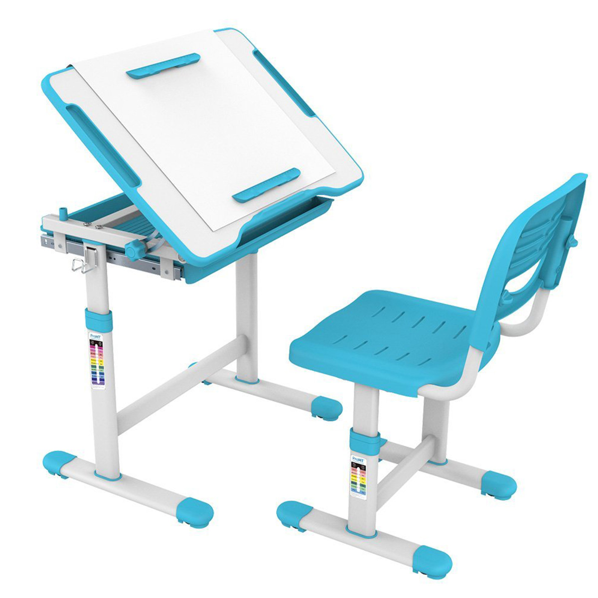 KidzDesk KD26B Ergonomic Height Adjustable Children Desk and Chair Set (Blue)