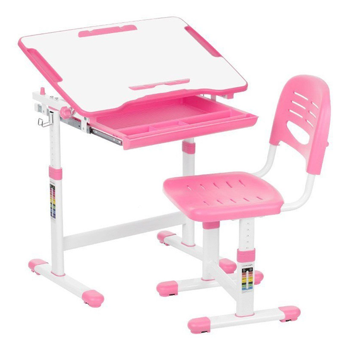 KidzDesk KD26P Ergonomic Height Adjustable Children Desk and Chair Set (Pink)