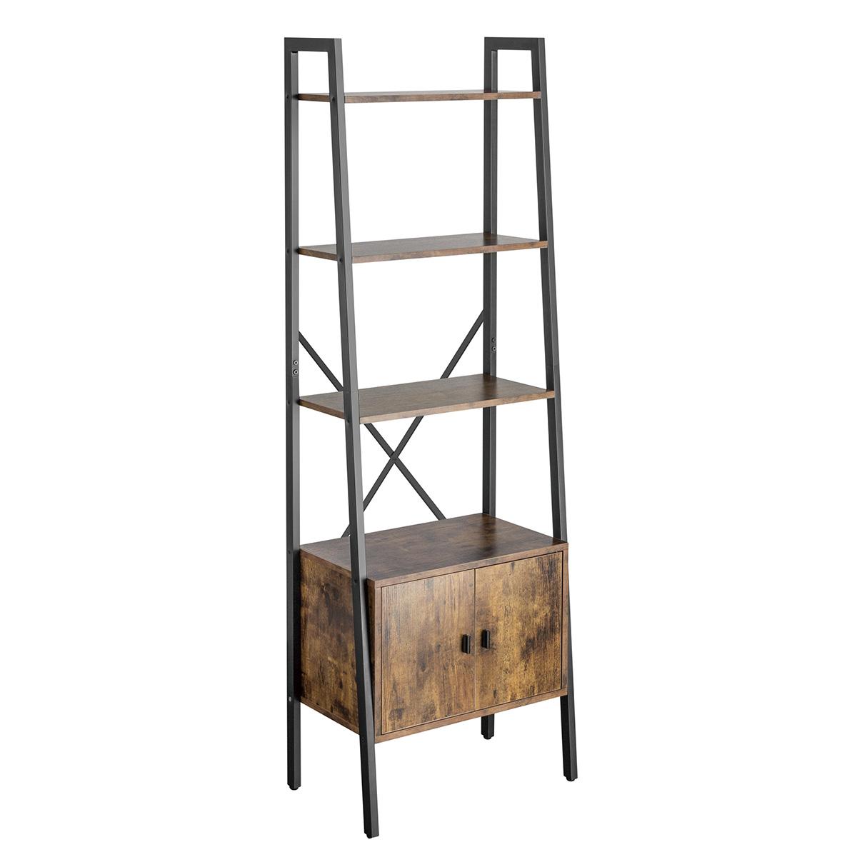 DL-13 Ladder Shelf with Enclosed Storage (Rustic Wood)