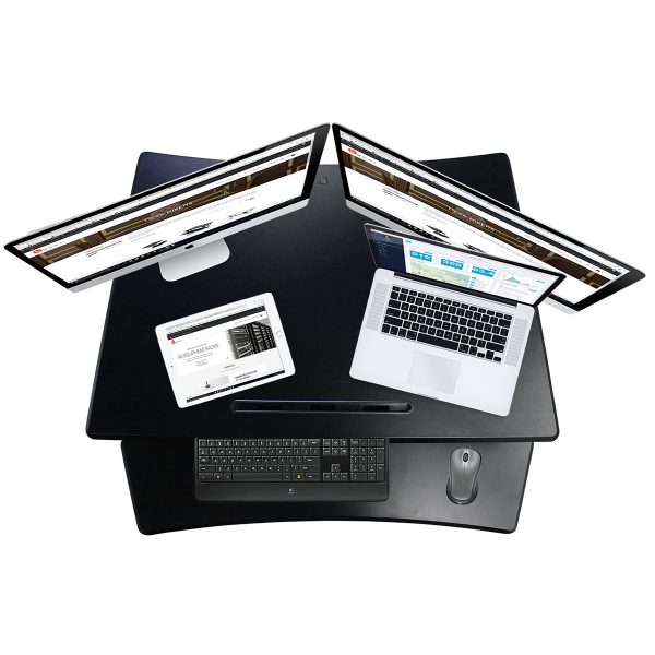 DR-35 above view - fits two monitors, laptop and tablet with ease