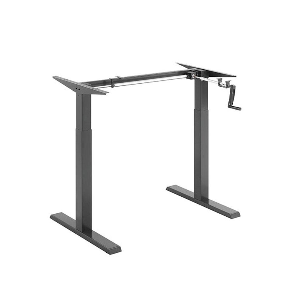 Floor Standing FS-DR22C Compact Manual Crank Height Adjustable Desk Frame (Black)